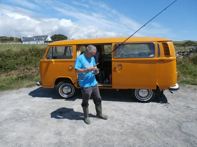 Chris tackling up beside the camper van