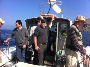 The usual suspects on a boat fishing trip