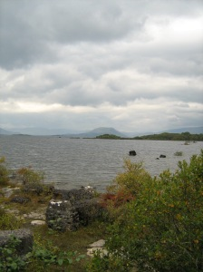 The view across Lough Mask from Cahir Pier. Mamtrasna is in the distance