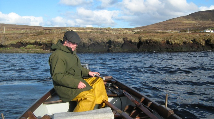 Ben at the helm, Bog Bay, Carrowmore